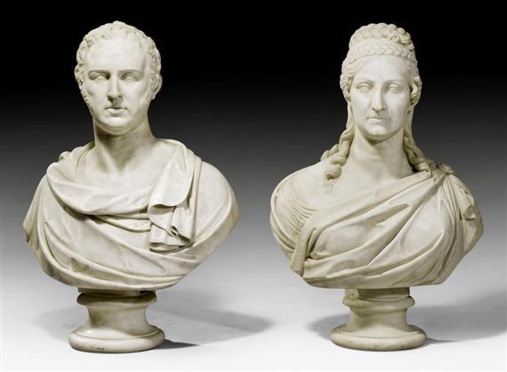 büste des sir thomas baring und seiner gattin lady mary ursula baring pair by adamo tadolini
