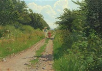 summer scenery with two children on a road by ludvig kabell