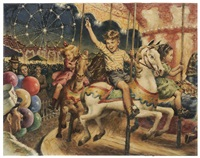 children on a carousel by amos sewell