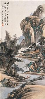 寒江烟树图 (landscape) by qi dakui