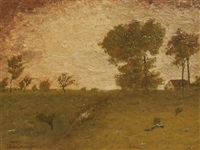 tonalist pastoral scene with farm house by john francis murphy
