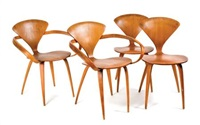 set of four cherner chairs, including two armchairs by paul goldman