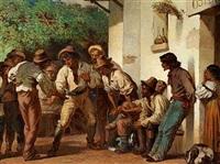 italienske mænd foran et osteri by henri renault