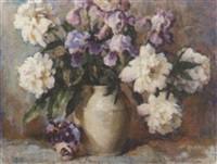 white peonies & iris in a white vase with pansies by fanny s. eanes