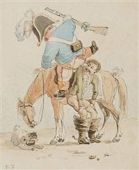 homme au chapeau (+ soldat se hissant sur son cheval, lrgr; 2 works) by rodolphe töpffer