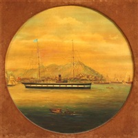 steamship and clipper off of hong kong (pair) by anglo-chinese school (19)