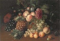 still life of grapes, peaches, strawberries, a melon, pumpkin, pineapple, with an acorn to the side by arthur charles dodd