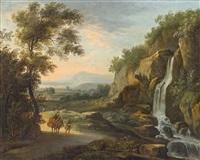 arkadische landschaft mit katarakt und figurenstaffage by johannes (jan) glauber
