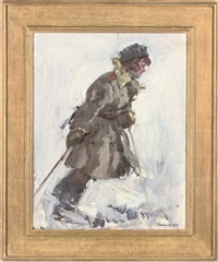 ski patrol (+ silver birch in the snow; 2 works) by leonid ignatevich vaishlya