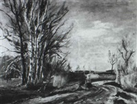 spaziergangerin bei fohn in dachauer landschaft by richard (huber-dachau) huber