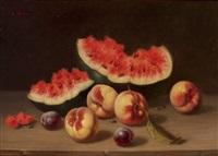 früchtestillleben mit melonenstücken, pfirsichen und zwetschgen by charles hutin