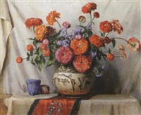 red & orange zinnias in an indian vase by fanny s. eanes