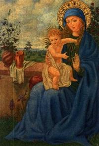madonna mit kind vor rosenhag mit weitem blick in das land by karl adam vollmer