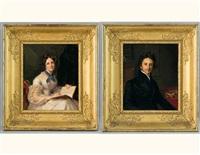 portrait d'alphonse marie ferdinand nicole-du pan (+ portrait de louise pétronille nicole-du pan; pair) by firmin massot