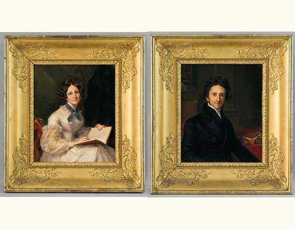 portrait dalphonse marie ferdinand nicole du pan portrait de louise pétronille nicole du pan pair by firmin massot