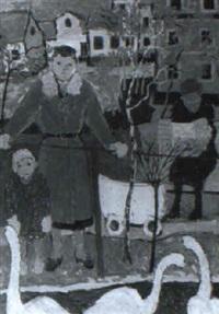 mor med barnvagn och dotter vid svandamm by martin emond