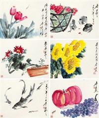 花果游鱼 (六帧) 镜心 纸本 (6 works) by tang yun