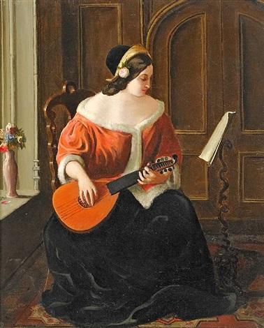 lautenspielerin am fenster by florent willems