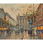 parisian street scene with view of opera house by antoine blanchard