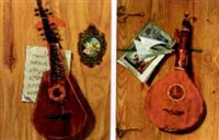 trompe l'oeil lute (+ another, similar; 2 works) by frederick victor bailey