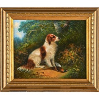 terriers and spaniel in hunting scenes (2 works) by george armfield