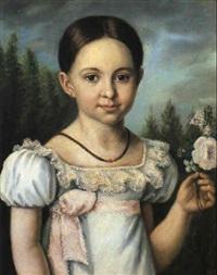 portrait eines mädchens im weißen kleid by jean baptist joseph bastine