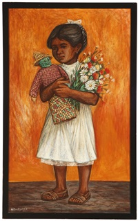 portrait of child holding flowers and a doll by hector ayala