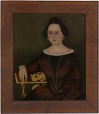 portrait of a dark-haired young lady wearing a gold necklace, seated on a gilt-decorated side chair by john james trumbull arnold
