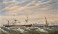panzerschiff und fregatte vor der englischen küste by william edward atkins