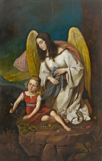 little girl with guardian angel by josef von führich