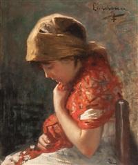 niña by joan llimona y bruguera