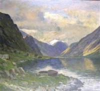 norwegian fjord scene by conrad hans selmyhr