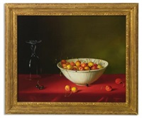 still life with strawberries, blackberries and raspberries, currants, sprigs of mint, a glass, and a plate (+ 3 others, various sizes; 4 works) by fernand renard