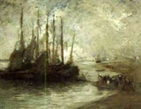 dutch fishing fleet at anchor by augustus koopman