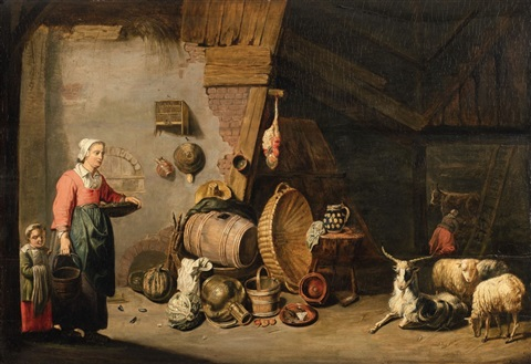 stable scene with still life by willem van herp the elder