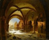 ansicht des kreuzganges kloster walkenried in der dämmerung by carl georg adolph hasenpflug