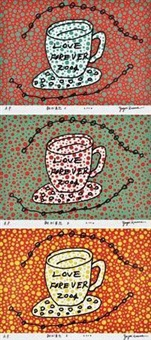 morning is here (三幅) (3 works) by yayoi kusama