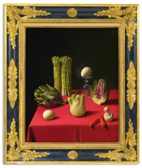 still life with asparagus, artichokes, eggs, a mushroom, chilies, fennel, and an inverted glass (+ 3 others, various sizes; 4 works) by fernand renard