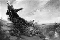 vater mit seinem sohn auf einem hügel, den blick ins weite land gerichtet by ludwig carl wilhelm fahrenkrog