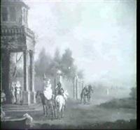 landschaft mit jungem paar zu pferd vor der loggia eines  landschlosses by peter jan van (de engelschman) reysschoot