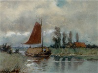 a hayship on a river by gerardus johannes koekkoek