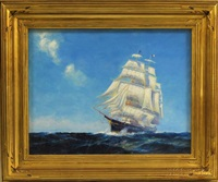 square-rigged ship under sail by frederick leo hunter