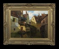 view of village houses along a canal by theodor feucht