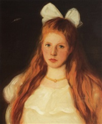 young girl with bow by roland rood