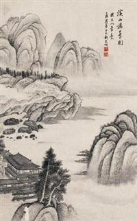 溪山楼台图 (landscape) by liu zijiu