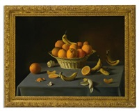 still life with oranges and bananas (+ still life with a fruit basket, corn on the cob, eggs, a cut pear, a mushroom, berries, nuts and a beetle, smllr; 2 works) by fernand renard