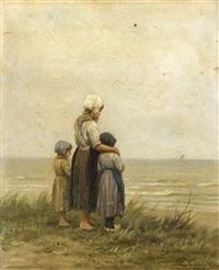drei kinder stehen auf einer düne und blicken auf das meer hinaus by philip lodewijk jacob frederik sadée