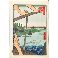 seven woodblock prints from the series one hundred famous views of edo by ando hiroshige