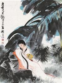 蕉林仕女 (lady) by liu danzhai