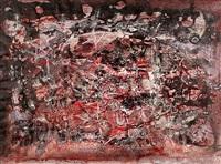 komposition in rot- und grautönen mit zahlreichen figuren in weiß by pieter sohl